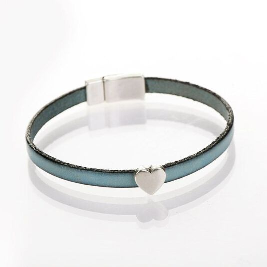 Duck Egg Blue Leather Heart Charm Bracelet