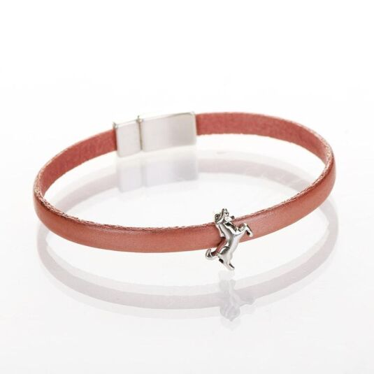 Pearl Salmon Leather Unicorn Charm Bracelet