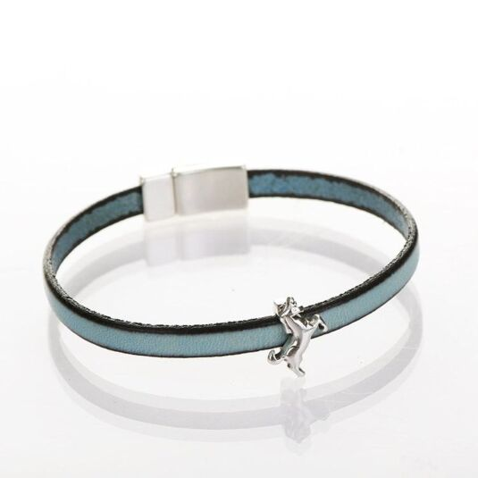 Duck Egg Blue Leather Unicorn Charm Bracelet