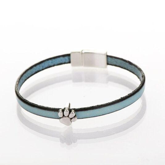 Duck Egg Blue Leather Paw Charm Bracelet