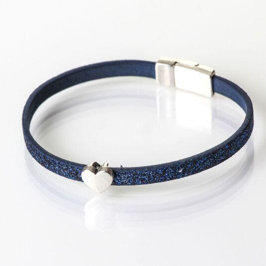 Blue Sparkle Heart Charm Bracelet