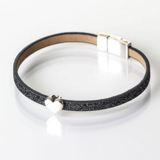 Graphite Sparkle Heart Charm Bracelet