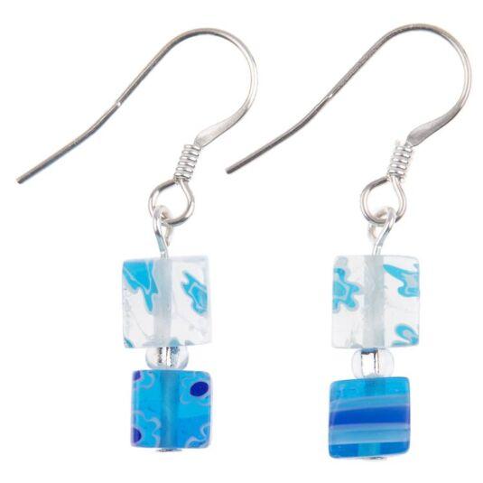 Blue Daisy Cube Earrings