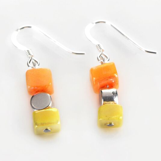 Orange-Yellow Summer Shell Earrings