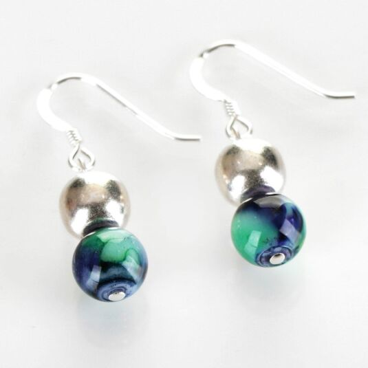 Peacock Marbled Earrings
