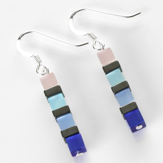 Night-time Cats Eye Blue Earrings