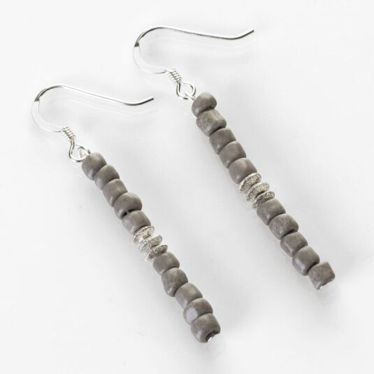 Grey Aztec Earrings