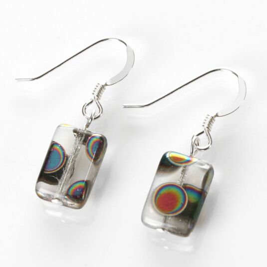 Clear Dotty Rectangle Earrings