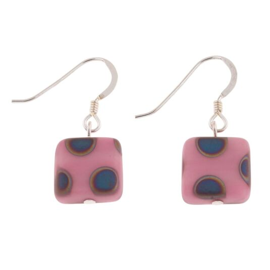 Pink Dotty Squares Earrings