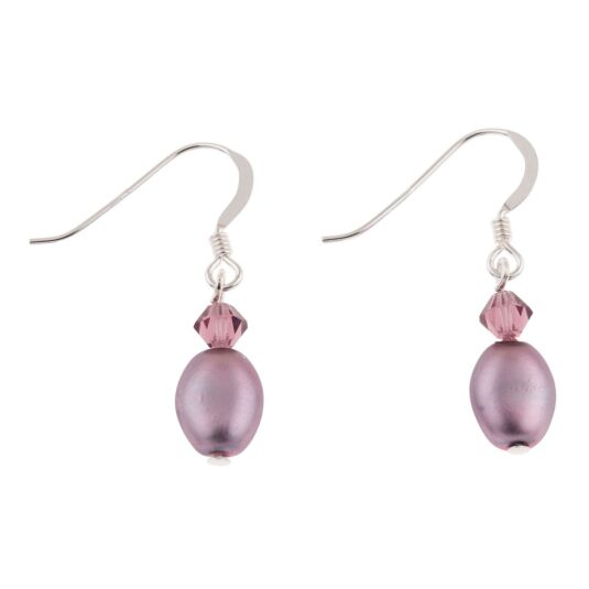 Amethyst Pearl & Crystal Bridal Earrings