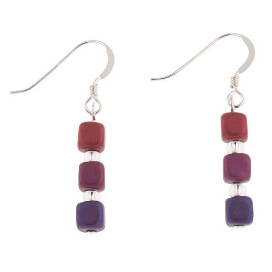 Purples Satin Cubes Earrings