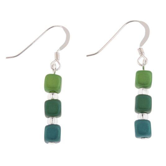 Greens Satin Cubes Earrings