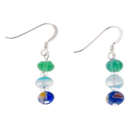 Spring Blues Millefiori Earrings