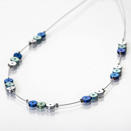 Blue Platters Spaced Necklace