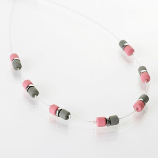 Pink Grey Earthtones Necklace
