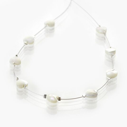 Shell Hearts Spaced Necklace