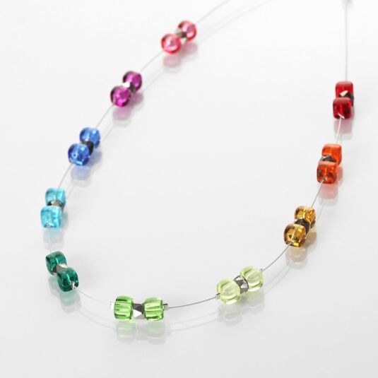 Rainbow Sparkle Spaced Necklace