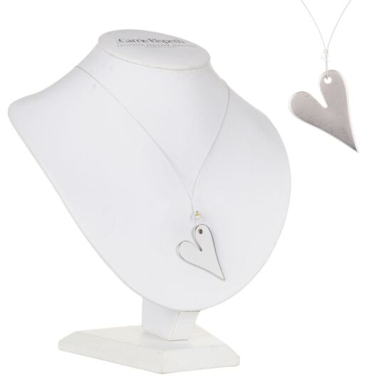 Angled Heart Pendant Necklace