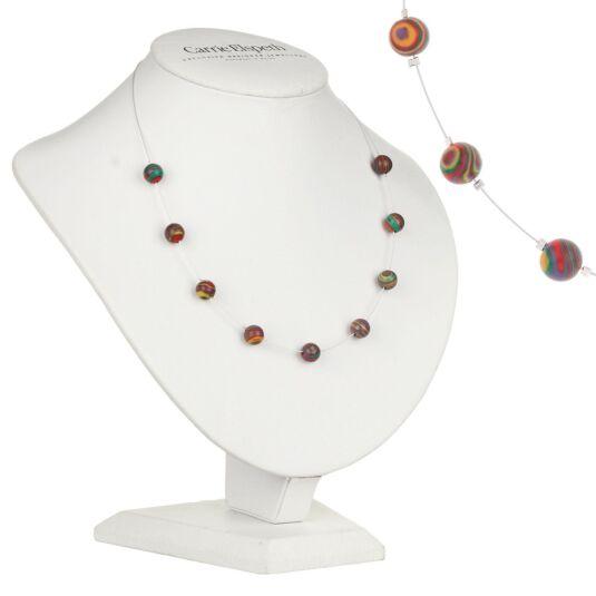 Rainbow Zebra Marbled Necklace