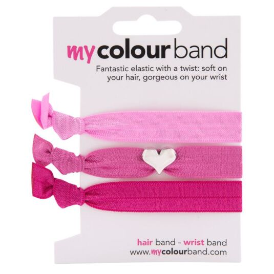 Pink Heart Charm Trio Colourbands
