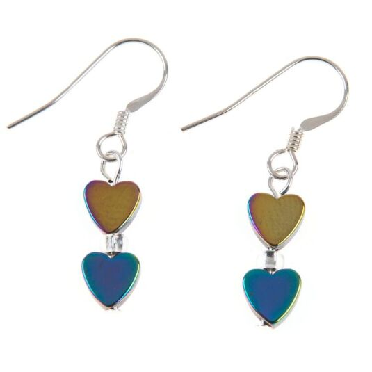 Rainbow Hearts Hematite Earrings