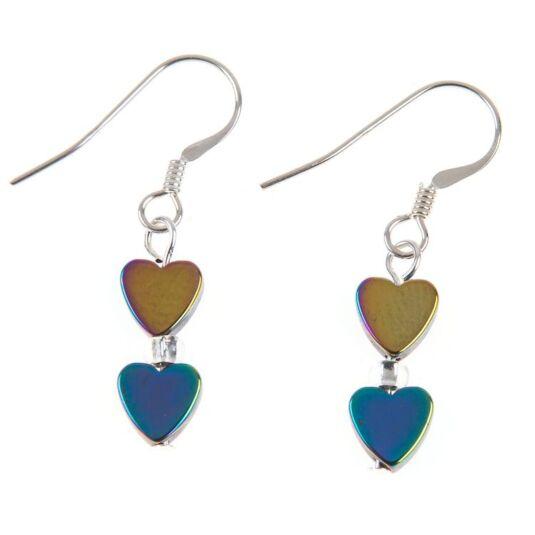 Rainbow Hearts Hematite Earrings