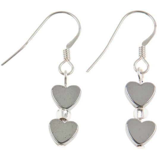 Mini Hematite Heart Earrings