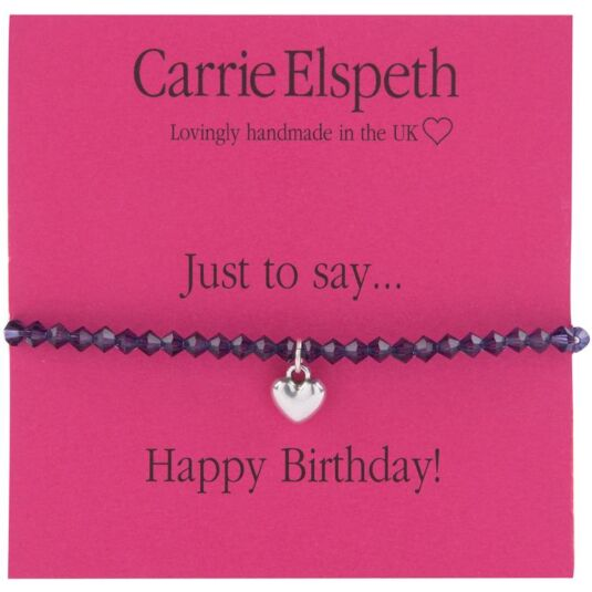 Happy Birthday Heart Charm Sentiment Bracelet