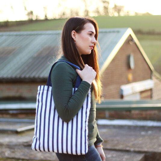 Breton Stripe Foldaway Tote Bag