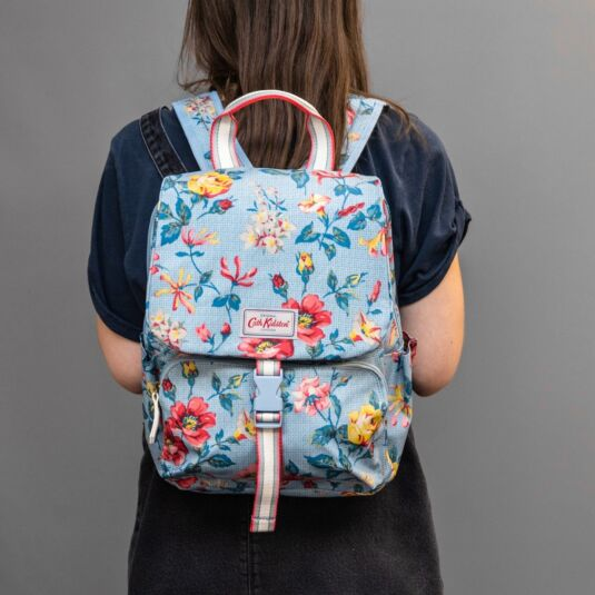 Blue Pembroke Rose Buckle Backpack