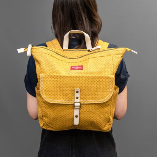 Shadow Flowers Mustard Canvas Backpack