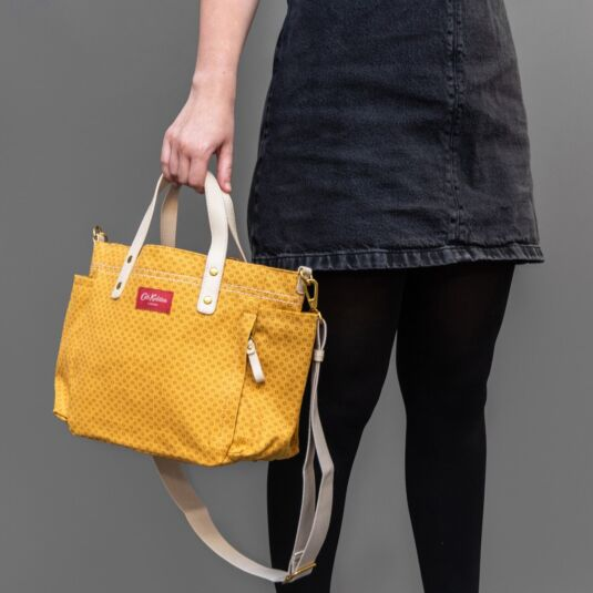 Shadow Flowers Mustard Small Canvas Tote Bag