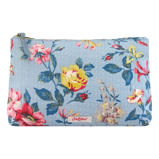 Blue Pembroke Rose Zip Cosmetic Bag