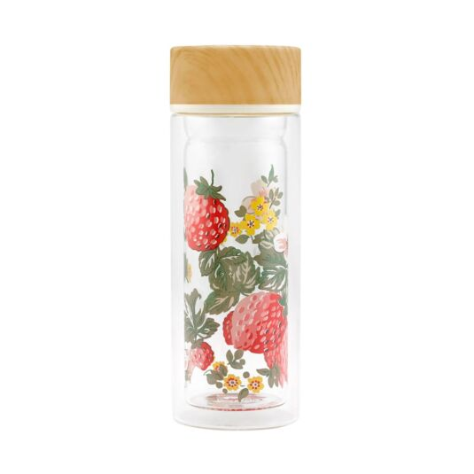 Wild Strawberry Glass Water Bottle