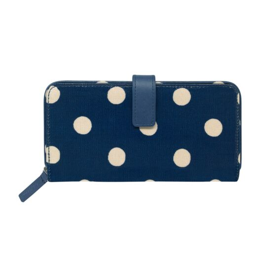 Navy Button Spot Large Folded Zip Wallet