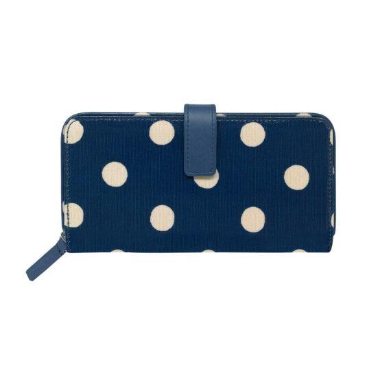 3af6c71abe07 Cath Kidston Navy Button Spot Large Folded Zip Wallet