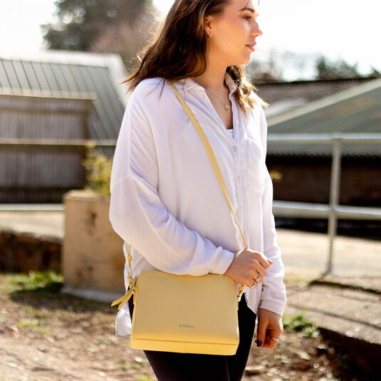 Yellow Maltby Leather Cross Body Bag