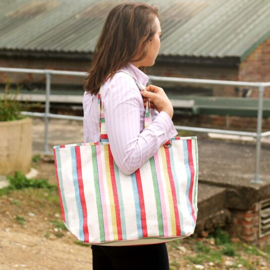 Multi Stripe Beach Tote