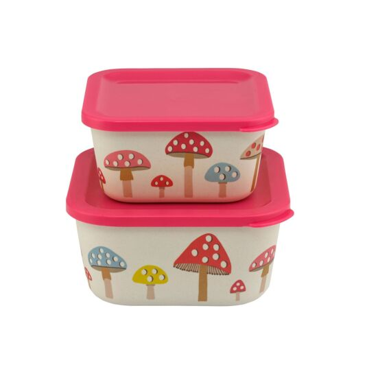 Mini Mushroom Set Of 2 Bamboo Lunch Boxes