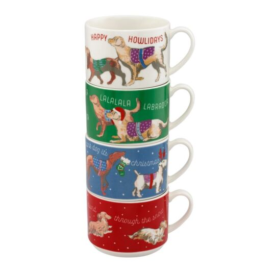 Sketchbook Dogs Set of Four Stackable Mugs