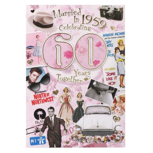 Down Memory Lane Pink 60th Anniversary Card