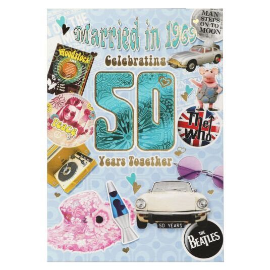 Down Memory Lane Blue 50th Anniversary Card
