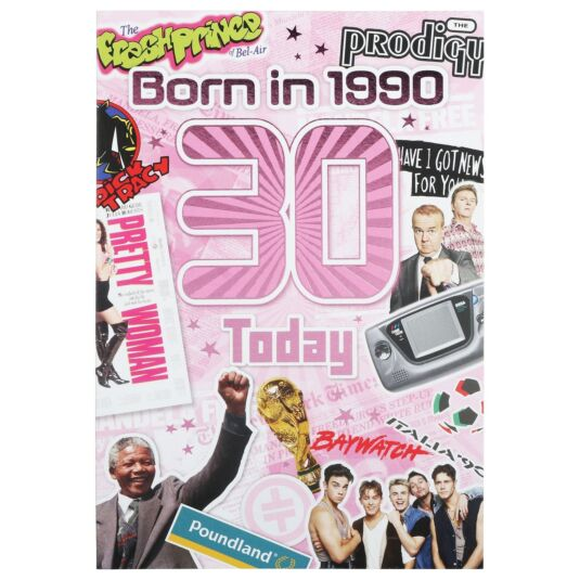 Down Memory Lane Pink '30 Today' Card