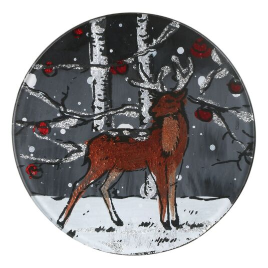 Winter Stag Set of 4 Round Glass Coasters