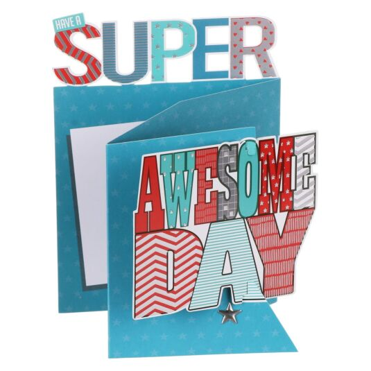'Super Awesome Day' 3D Birthday Card