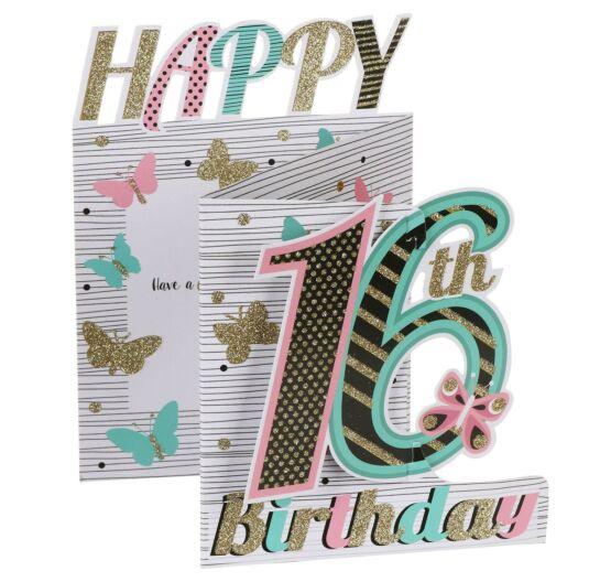'16th Birthday' Butterflies 3D Card