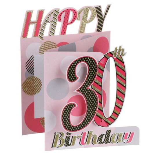 '30th Birthday' Glitter Circles 3D Card