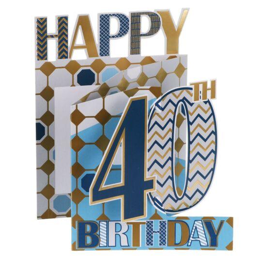 '40th Birthday' Metallic Graphics 3D Card