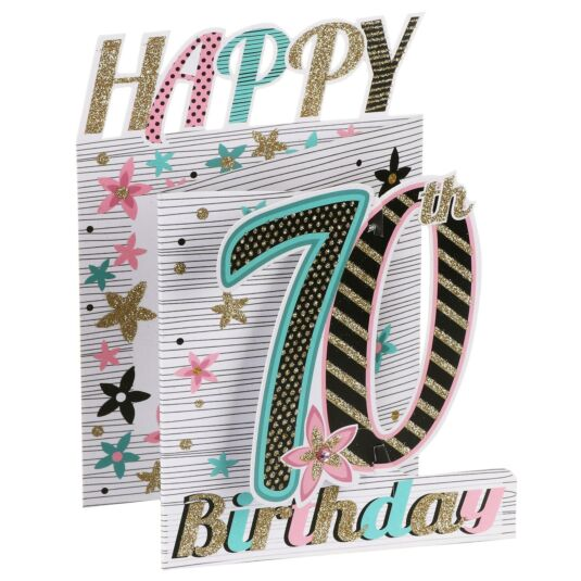 '70th Birthday' Flowers 3D Card