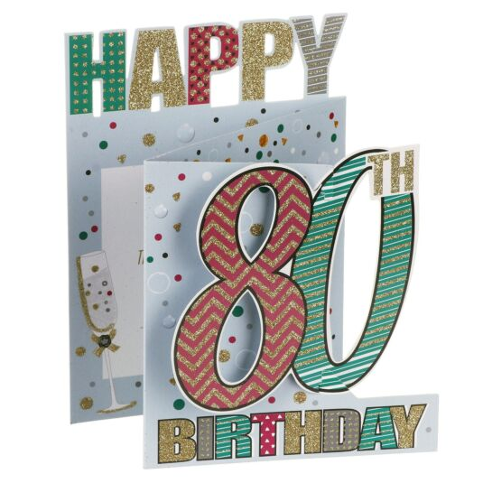 '80th Birthday' Bubbles 3D Card